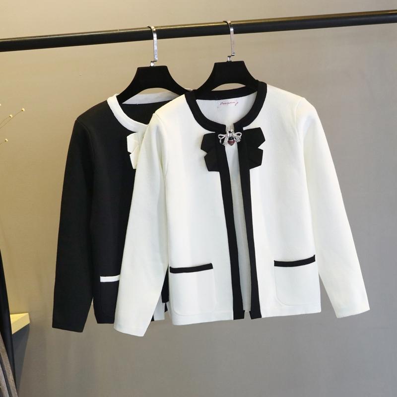 Gentili da donna Tees Sweet Sweet Cardigan Cardigan Cappotto Donne 2021 Neck Tround Bowknot Temperamento manica lunga manica lunga maglione di lana non con spilla ape