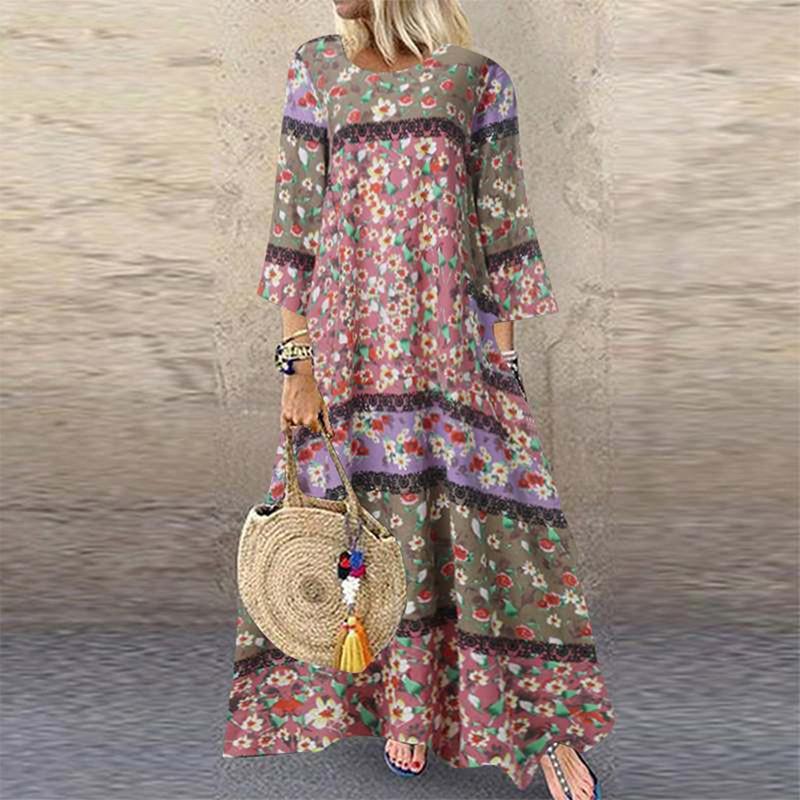 BOHO Baskılı Maxi Elbise Vintage Rahat Pamuk Keten Elbise Kadın Vestidos Patchwork Robe Artı Boyutu S-5XL Gevşek Cebi Uzun Elbise Y0118