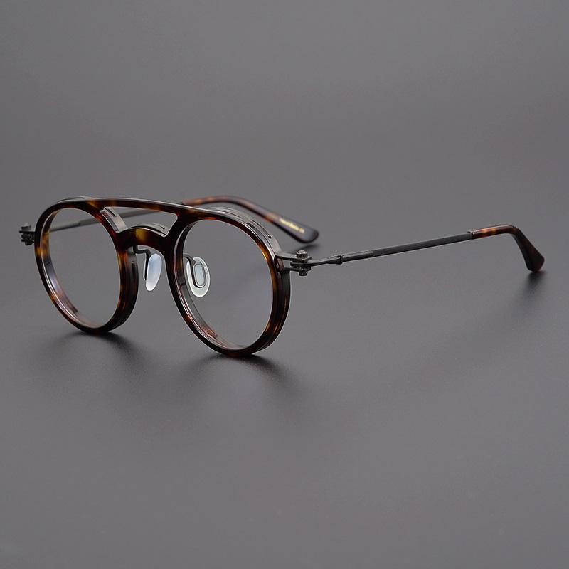 Vintage Yuvarlak Titanyum Asetat Gözlük Çerçeveleri Erkekler kadın Retro Daire Reçete Göz Gözlük Çift Işın Optik Gözlük