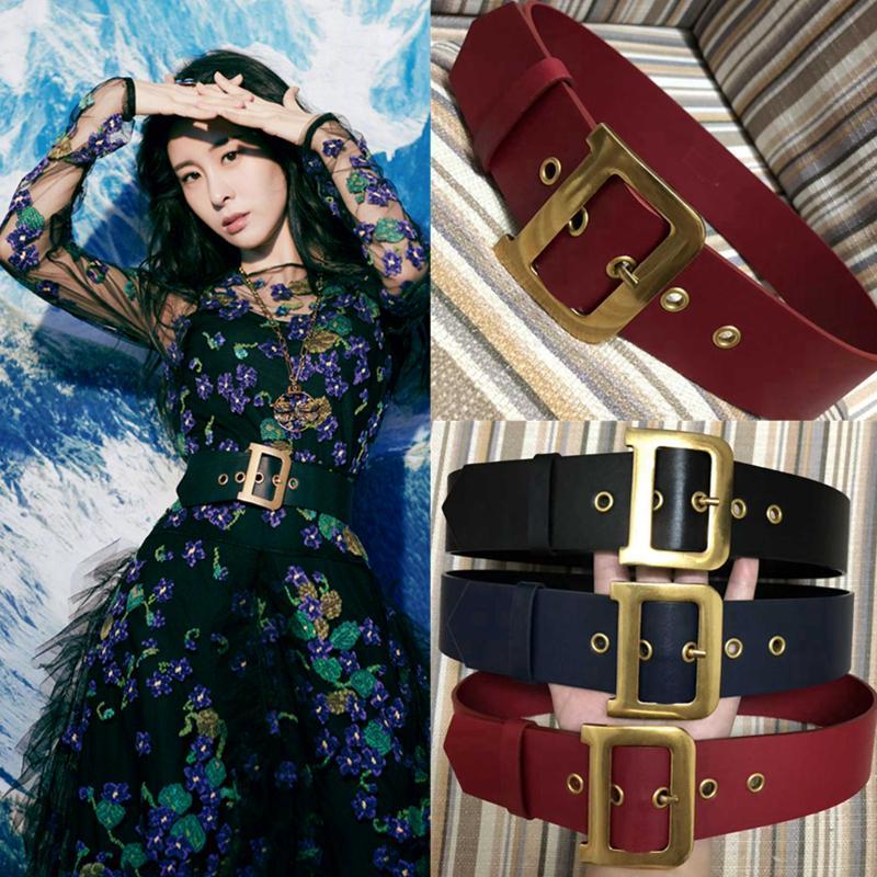 Lüks Yüksek Kalite Kadın Moda Hakiki Deri D Mektubu Bakır Toka Kemer Bayanlar Katı Elbise Kazak Kemerler Kemer J1209