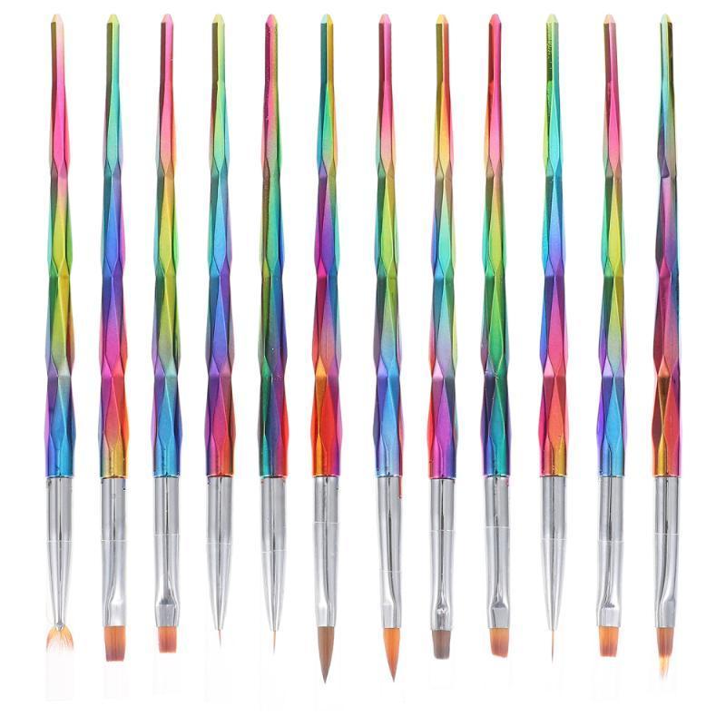 Escovas de prego 12pcs beleza arte pintura caneta salão manicure