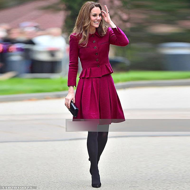 Kate Middleton Nova Moda Alta Qualidade Única Castido Top Solto Meia Saia Vintage Elegante Chic Party Work Sets 962Z