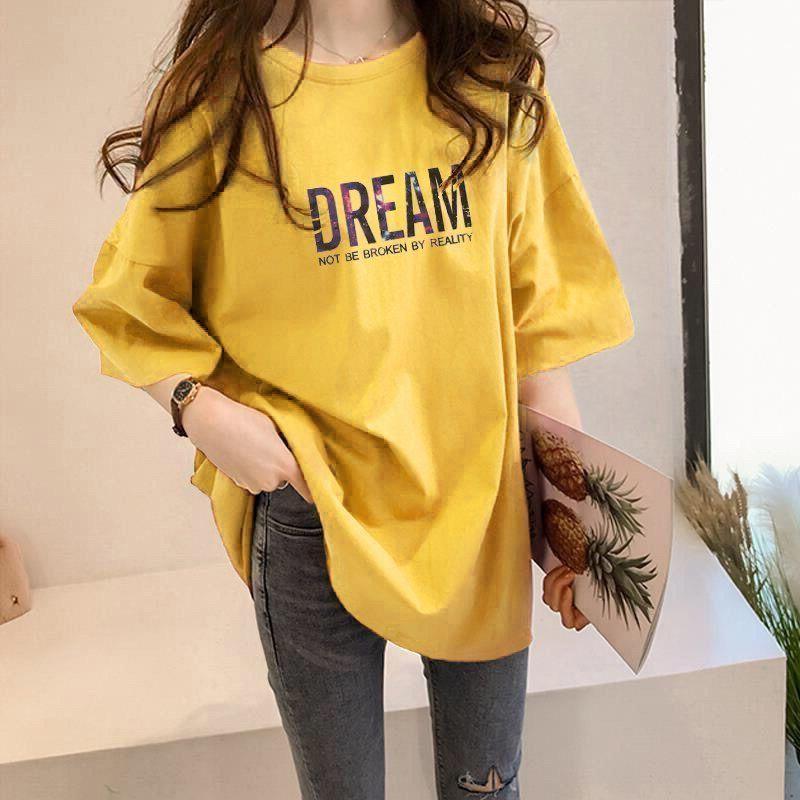 Algodão Meia-comprimento T-shirt de manga curta t-shirt das mulheres T-shirt Plus size estilo coreano tops mulher camisetas roupas gráficas de vestuário