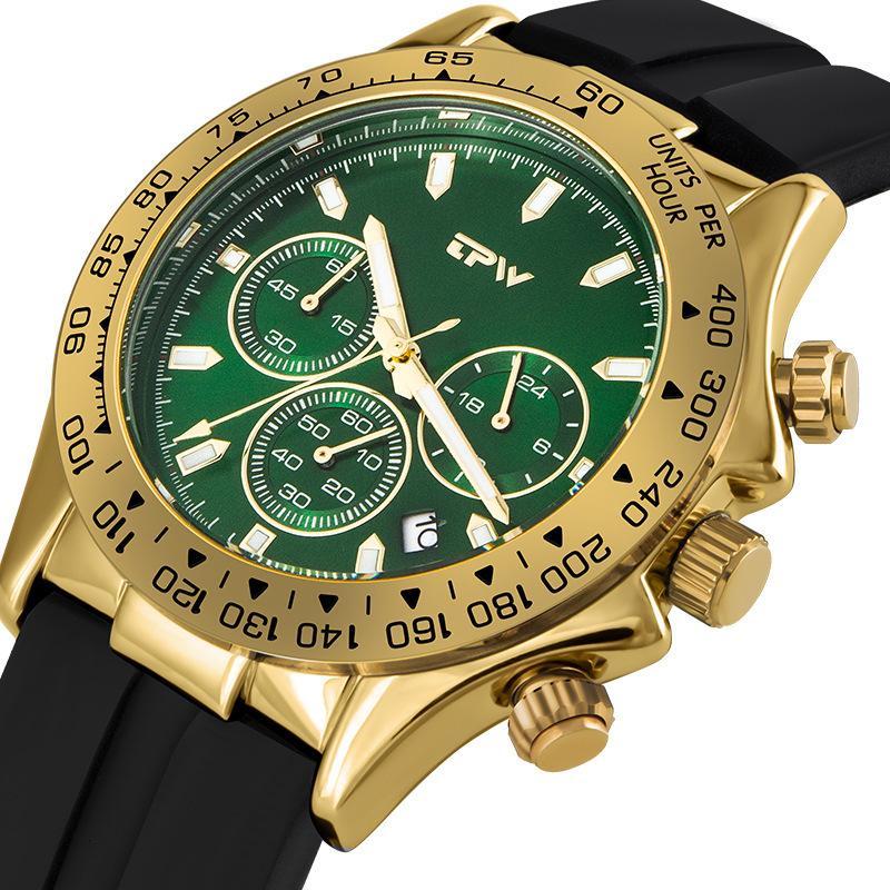 New Fashion Three Glies Silica Gel Gel Quartz Watches Multifunctional Watch Sport luminosi da uomo