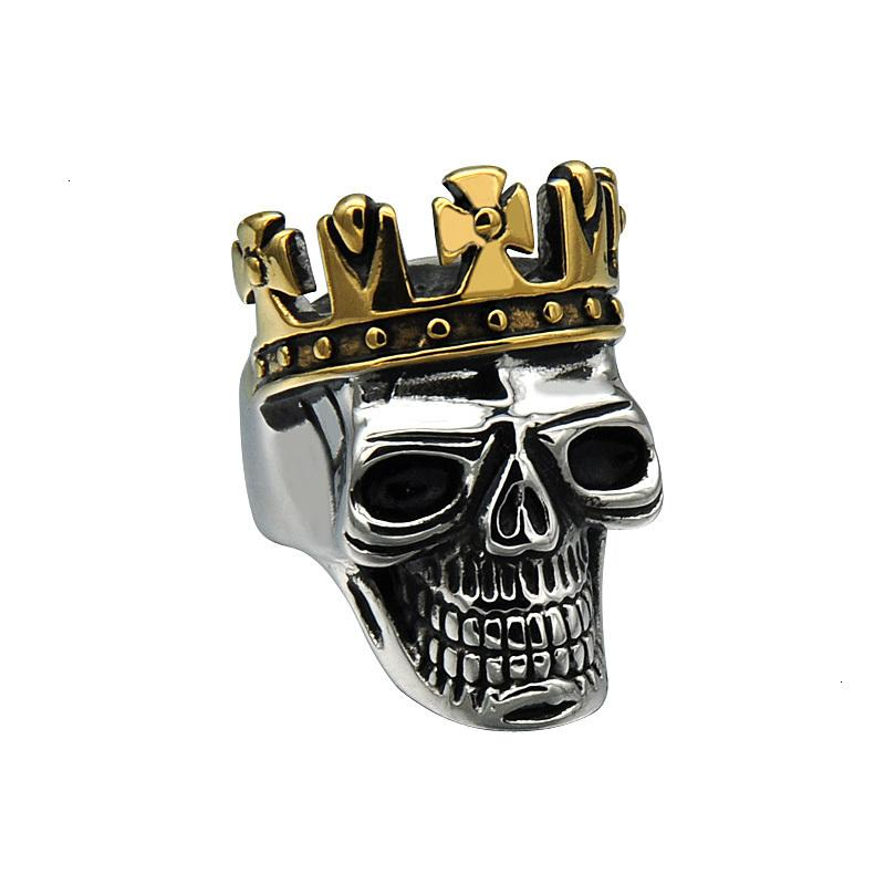 Mcw Punk Titanium Stainless Steel Ring Biker King of Skull Cross Crown Skeleton Gothic Ring for Men's Jewelry