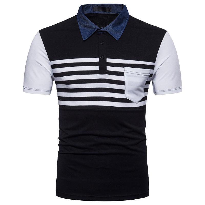 S-2XL летняя мода рубашка мужские полосы цветной джинсовой воротник лоскутное покрытие с коротким рукавом футболка хлопчатобумажная одежда черный серый белый размер S-XXL