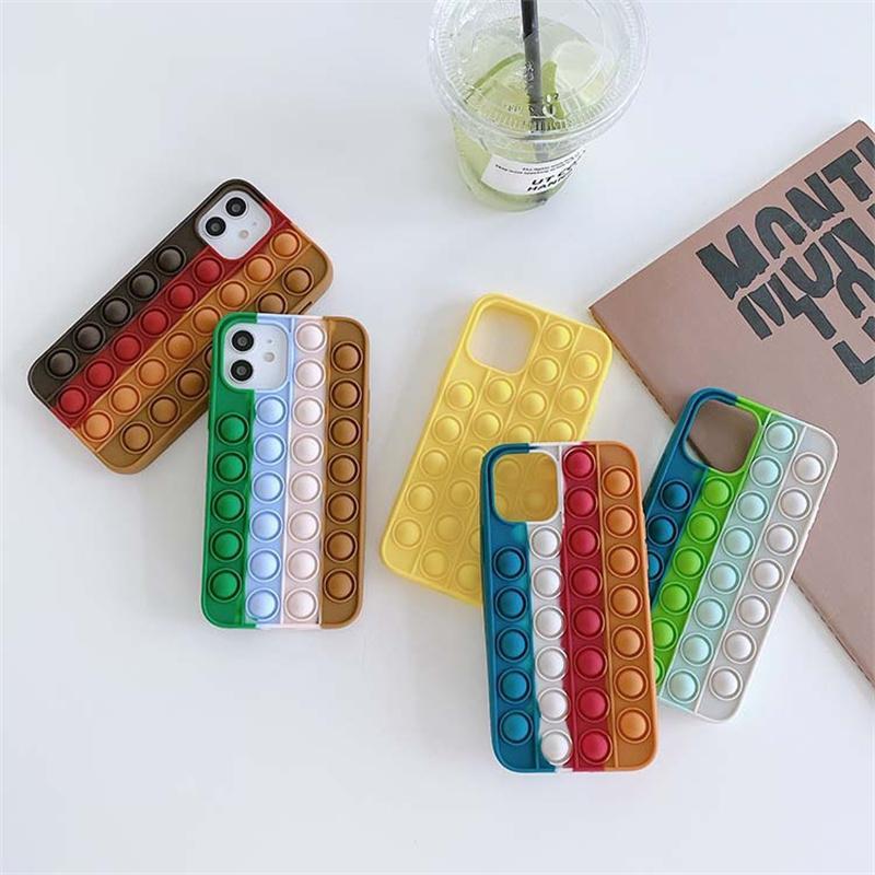 Custodia in silicone Colorato Anti-Drop Telefono per iPhone 13 12 11 Pro Max XS XR 7 8 6S Plus Samsung Galaxy S20 S21 DHL Veloce