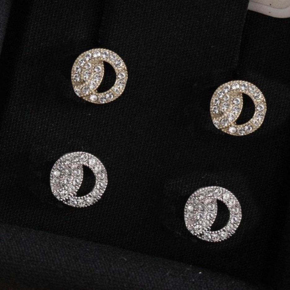 gold earrings Fashion diamond stud earring aretes for lady Women Party Wedding Lovers gift engagement Jewelry Bride with box have stamps