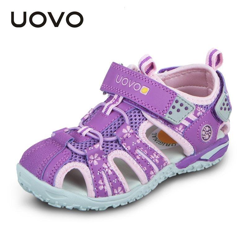 Уово летние детские туфли мода детские сандалии для девочек крючко-петли вырезанные вырезы летом пляжные сандалии размер # 26-36 210301