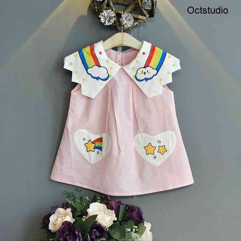 Vestidos de menina meninas meninas casuais roupas roupas crianças roupas verão algodão manga curta arco-íris princesa doce 2-6Y B5198