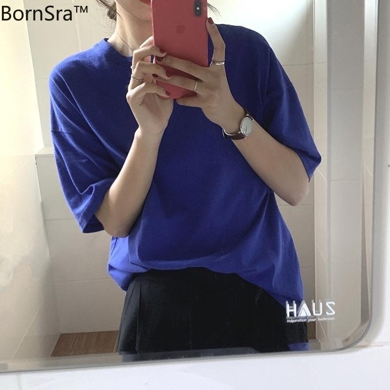 Bordsra Основные сплошные круглые шеи с короткими рукавами. Футболка с короткими рукавами женская 2021 весенняя корейская версия ослабленной куртки T1566 210310
