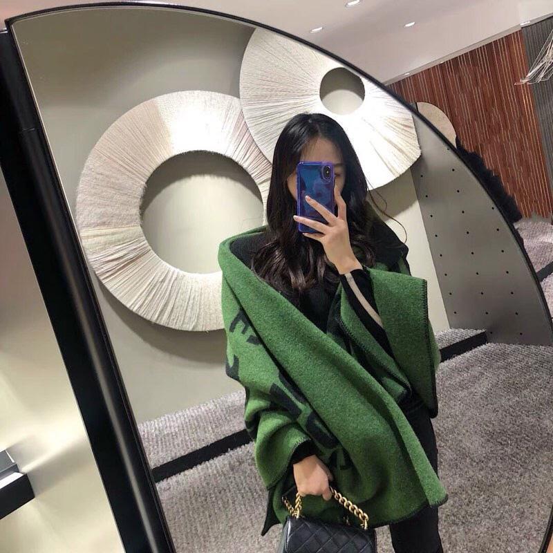 Шарфы Net Red Sl та же кашемировой шаль. Письмо жаккардовый двухсторонний зеленый одеял шарф. Теплые шал шарфы женщины