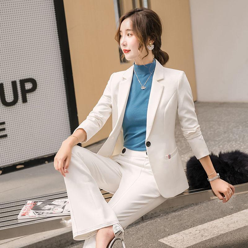 2021 Neue Herbst Langärmlige Frauenjacke Langbeinige Hosen Thin-tailled Anzug Business Two-teile MBWQ