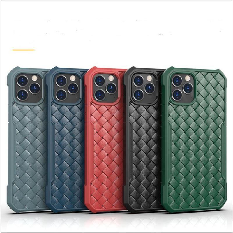 Caja de teléfono trenzada de TPU suave a prueba de golpes para iPhone 12 Pro Max 6.7 Mini Slim Protect Case para Sansumg S21 Plus Ultra Free DHL