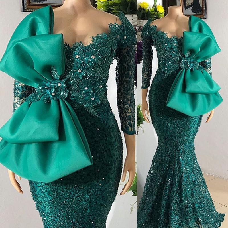 Robe de Soirée de Mariage 인어 이브닝 드레스 긴 활 사냥꾼 녹색 파란색 아프리카 파티 가운 아랍어 파티 Vestidos 공식