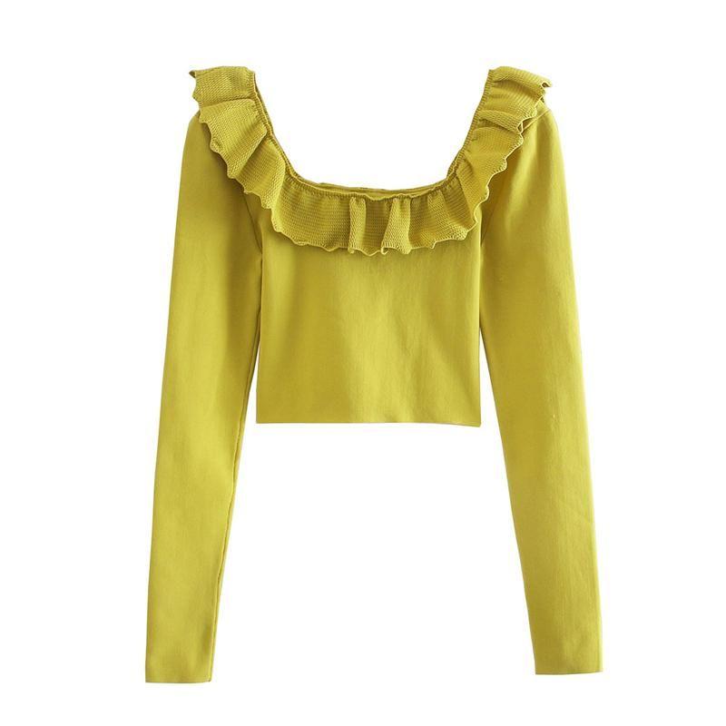 Femmes élégantes Chemise courte verte 2021 Fashion Mesdames Chicit Tops Streetwear Femelle Causeau Cause Chemisier Collier Square