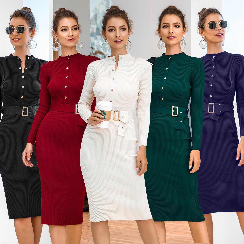 Женское платье с длинными рукавами Одногругнутые вязаные ягодицы Осень и зима в 2021 году
