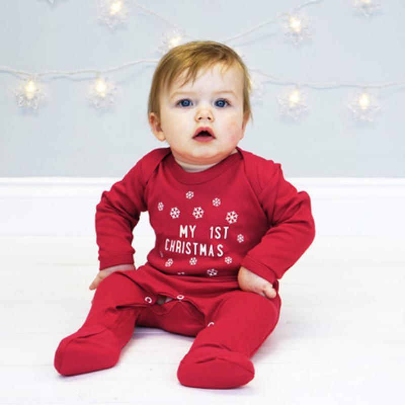 Neugeborene Säuglings Baby Jungen Mädchen Kleidung Langarm Brief Druck Strampler Overall Outfits Winter Weihnachtskleidung Baby Onesie