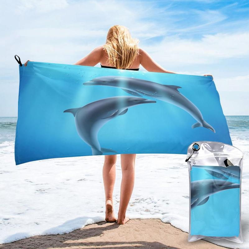 Towel Quick Drying Pocket Dolphin Sea Blue Portable Water Absorbent No Pilling Sports Bath