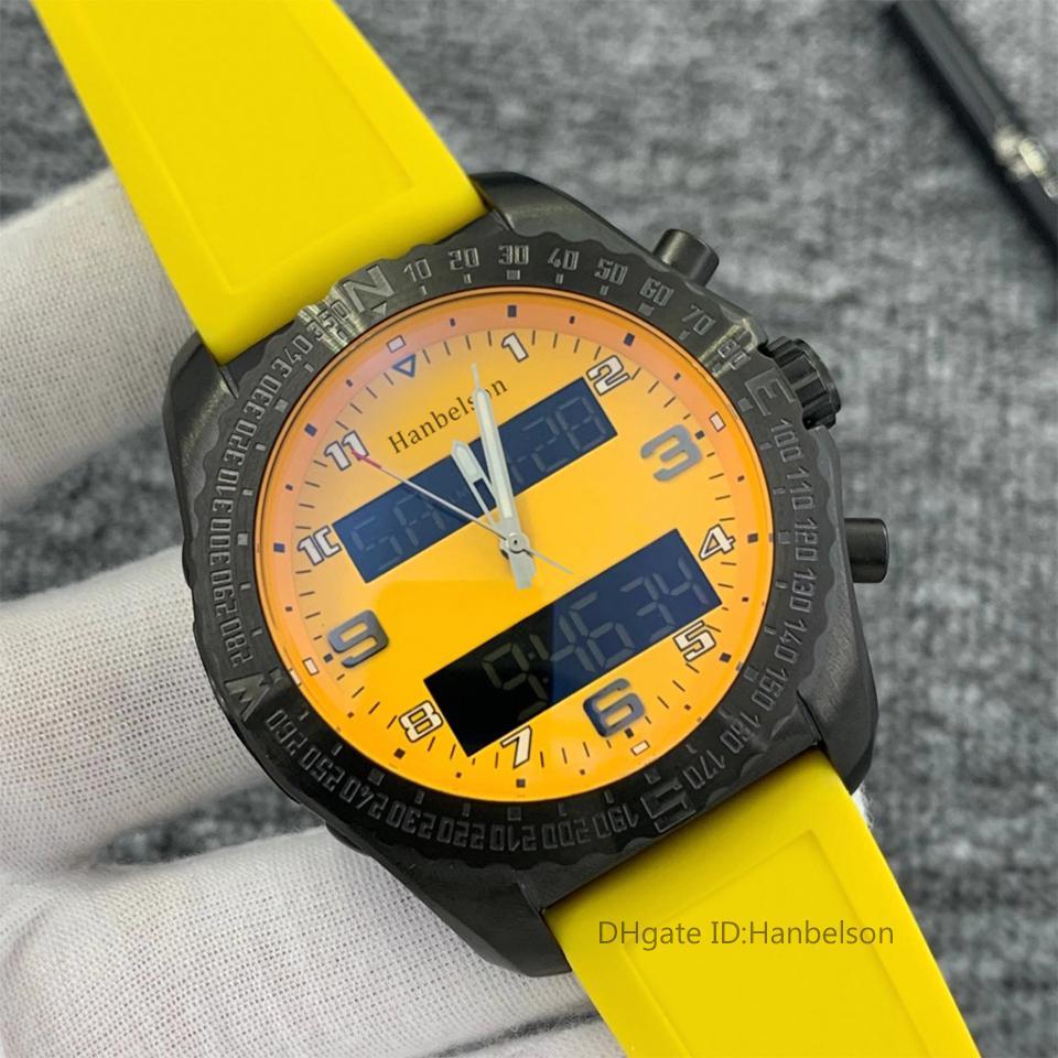 2021 جديد 1884 الرجال مشاهدة المنطقة الزمنية المزدوج مؤشر الإلكترونية عرض حزام المطاط الأصفر مونتر دي لوكس المعصم رجالي الرياضة الساعات