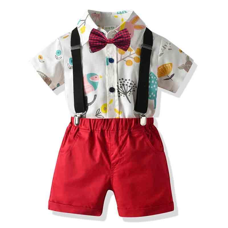 Kleidung Sets Baby Junge Kleidung Set Sommer Gentleman Anzug Kleinkind Fliege Drucken Hemd + Hosenträger Shorts Formale Jungen Kinder