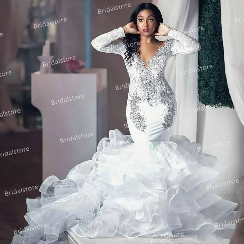 Country African Mermaid Wedding Dresses 2021 Vintage Crochet Lace Long Sleeve Garden Bohemian Wedding Dress With Organza Ruffle Bridal Dress