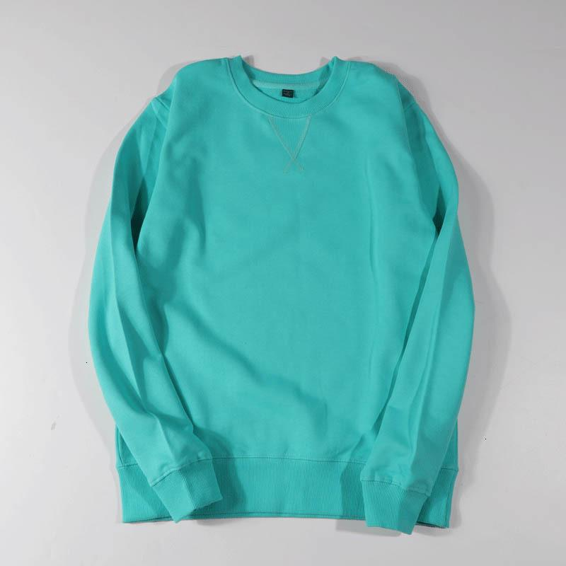 Spring New 2021 Long Sleeve O-neck Pure Color Loose Style Oversize Warm Blue Hoodies Women Tops TWBD