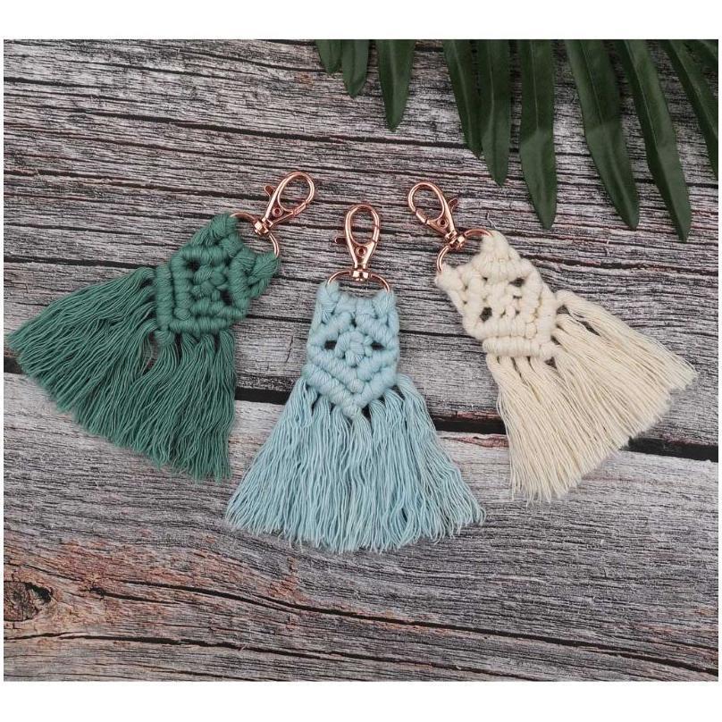 Tassel Keychains For Women Boho Key Holder Keyring Macrame Bag Charm Car Hanging Jewelry Gift For jlldhG