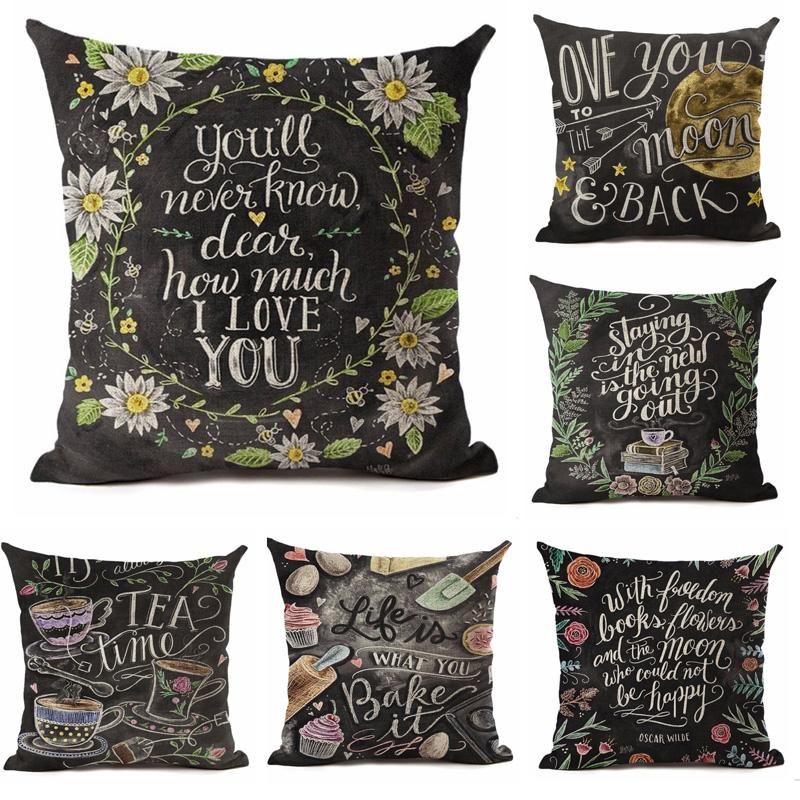 45см * 45см Весна в кафе льняной хлопчатобумажной наволочной корпус диван подушка для подушки животного письма квадратная декоративная подушка
