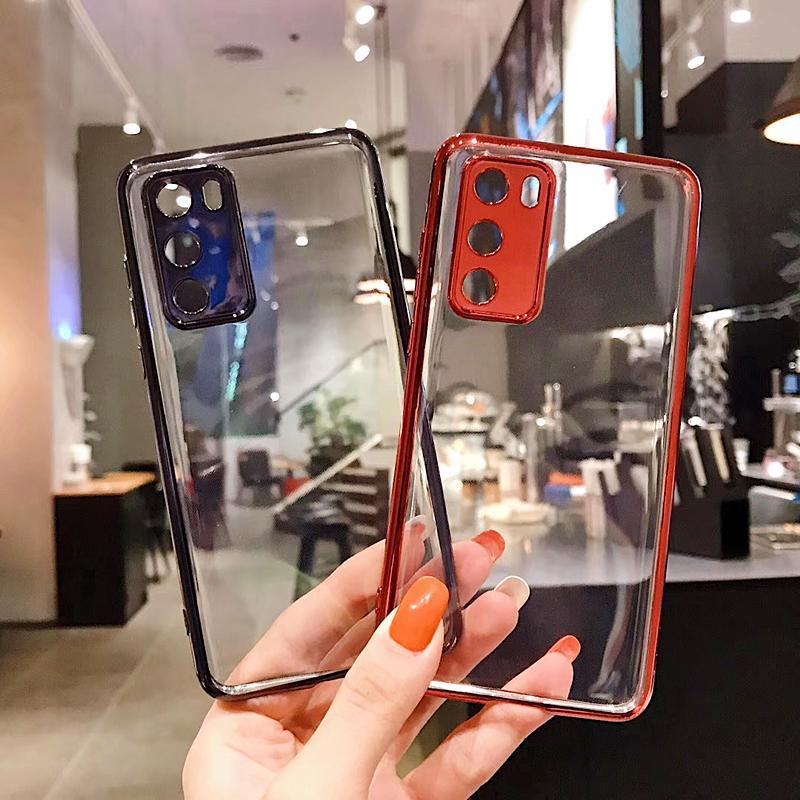 Funda de teléfono de silicona suave de placa transparente para Huawei P40 Pro P30 MATE 20 30 PRO NOVA6 V30 Ultra Thin Becoplated Funda