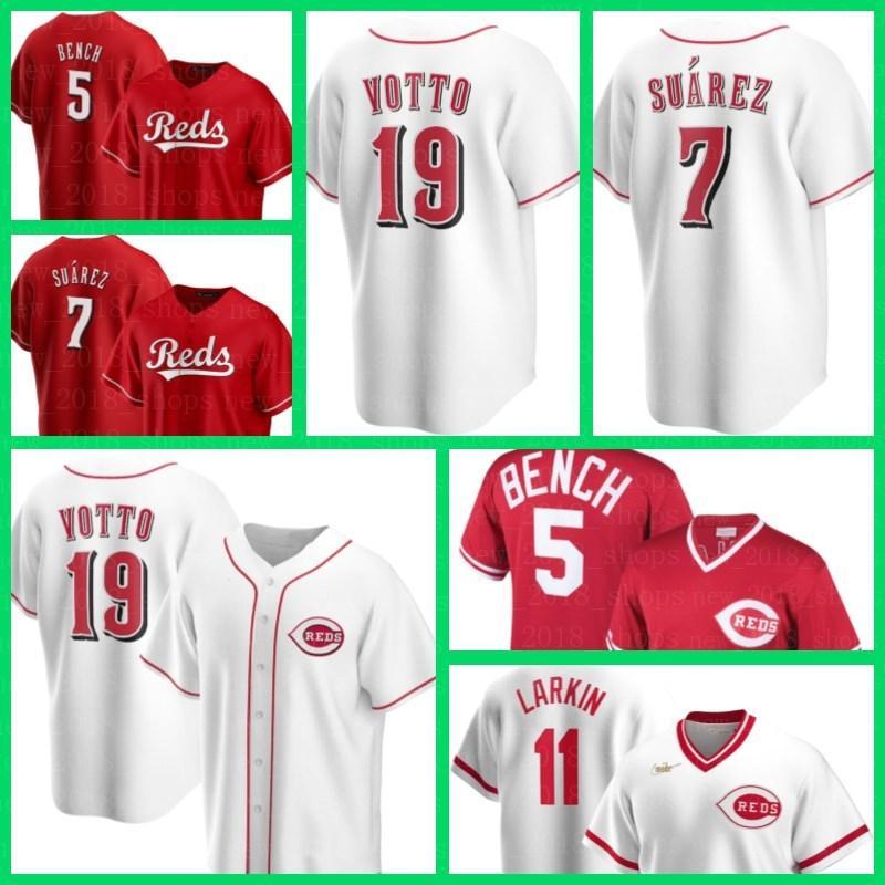 Cincinnati Men Reds Jerseys 19 Joey Votto 7 Eugenio Suarez 11 Barry Larkin 5 Johnny Bench 38 Jose Garcia Baseball Nick Castellanos Senzel 63 Sean Doolittle Lucas Sims