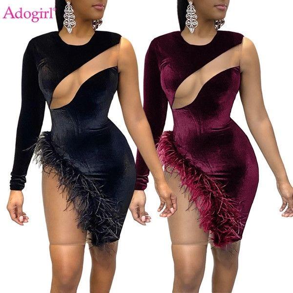 Adogirl Сексуальная явная сетка лоскутное бархатное мини-платье женщины одно длинное плечо перо ночной клуб короткие бодиконки Vestidos халаты J0125