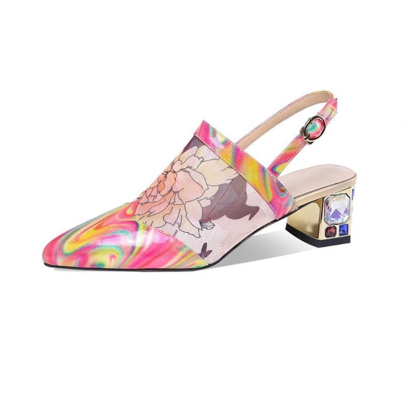 Сандалии Женская сетка Цветочные Цветочные Печатные Стразы Алмазные Четкие каблуки Обувь Bling Блестящая Натуральная Кожа Кристалл Слингбек Плюс