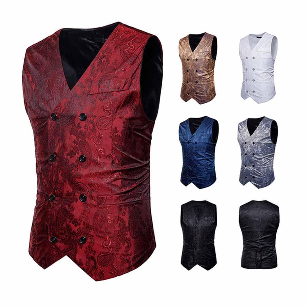 2018 Dress Vests For Men Slim Fit Mens Suit Vest Male Waistcoat Gilet Homme Casual Sleeveless Formal Business Jacket