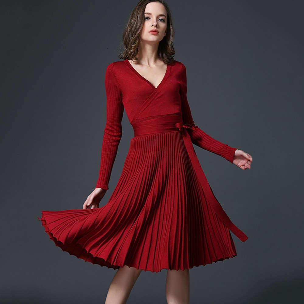 Платье весна и осень носят сексуальный тонкий рукав V-образным вырезом плиссированные вязаные женские длинные юбки