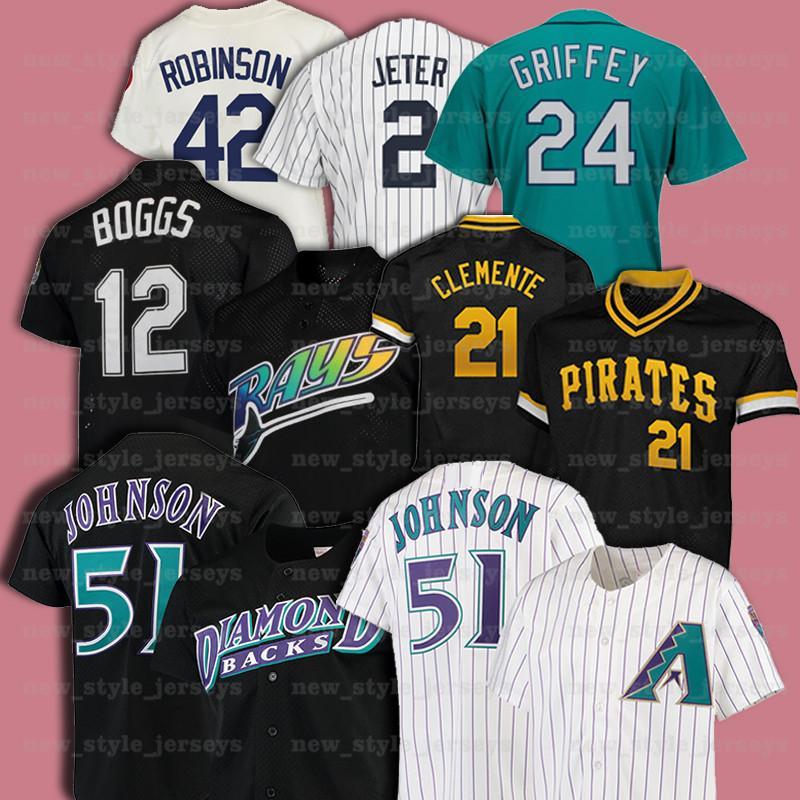 21 Roberto Clemente 51 Randy Johnson 42 Jackie Robinson 12 Wade Boggs Retro Men Mitchell Ness Baseball Jersey Z9