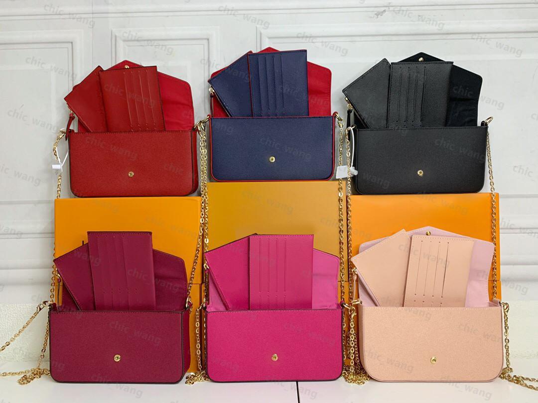 Fashion box wallet bags real leather purse Luxurys Designers women men Crossbody chain evening Purses tote genuine material handbag style lady model