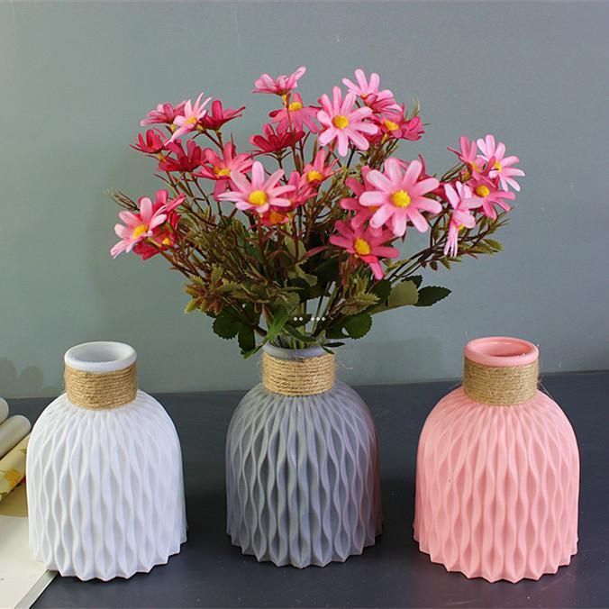 Plastik Vazo Avrupa Tarzı Ev Dekorasyon Vazo Anti-Seramik Plastik Kırılmaz Düğün Kurutulmuş Çiçekler Bitkiler Hidroponik Tencere HWF5132