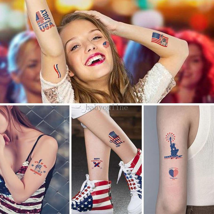 Amerikanische Unabhängigkeitstag-Flagge Tattoo Aufkleber Temporäre Gesichtsarmkörper Makeup-Aufkleber 4. Juli Patriotische Tattoo-Aufkleber