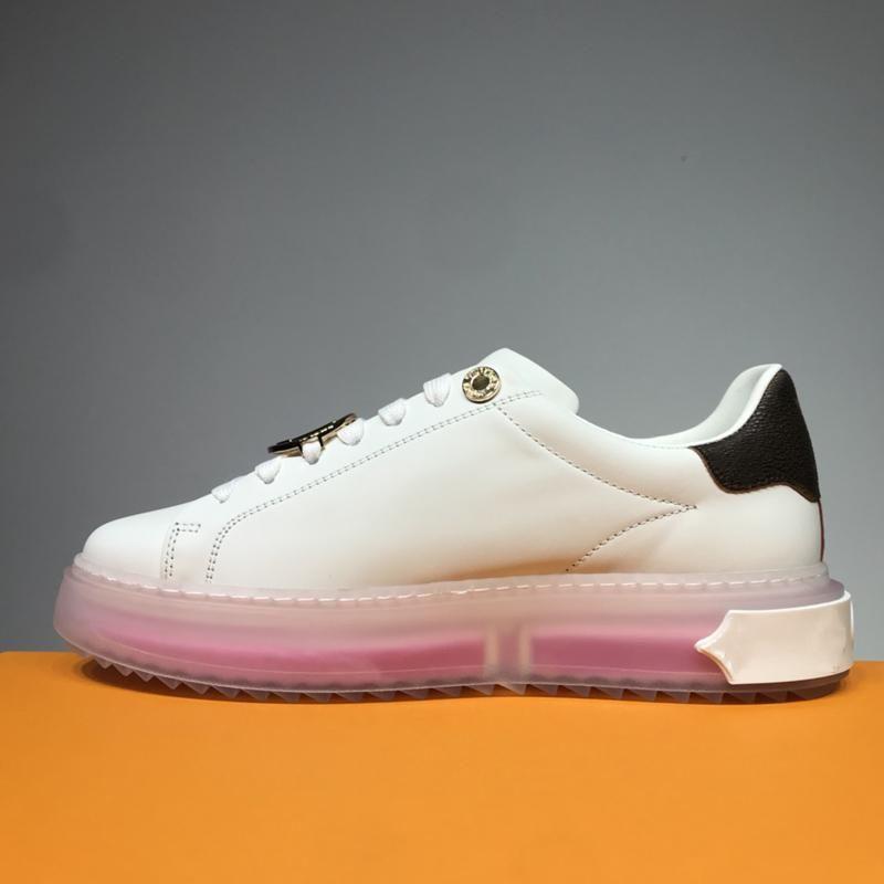 Neue Luxusmode Männer und Damen Freizeitschuhe Transparente Sohlen Komfortable Dicke Unterseite Erhöhte Paar Beiläufige weiße Schuhe 3