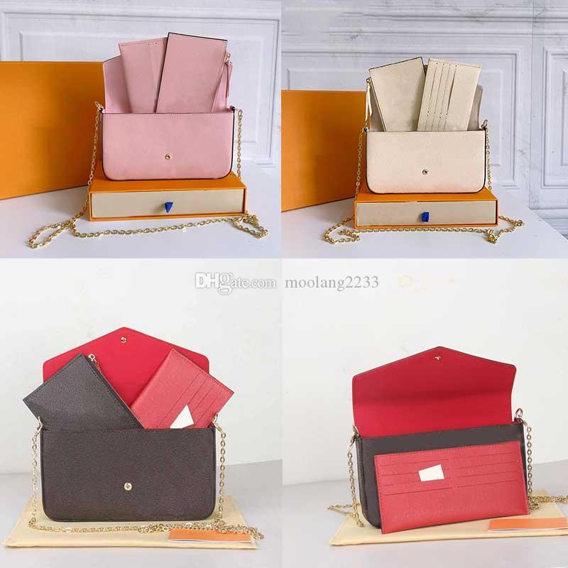 2021 المصممين الفاخرة حقيبة يد النساء محافظ جلدية الجلود الكلاسيكية سلسلة سيدة المحافظ مع حامل البطاقة سستة الجيب حقيبة