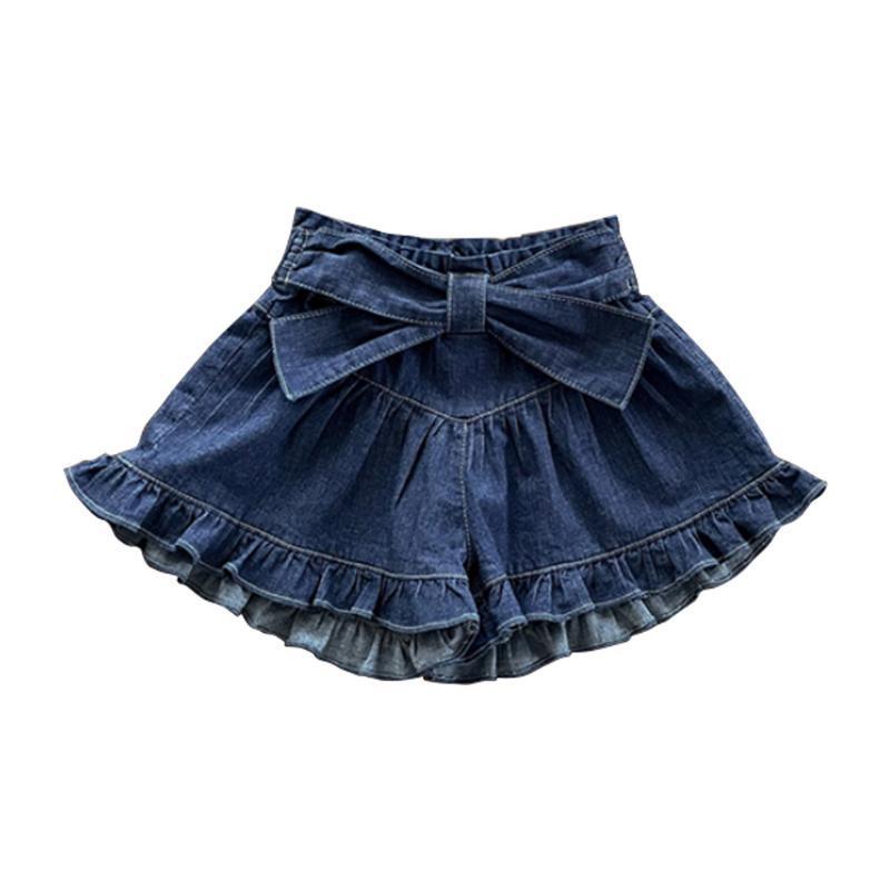 Shorts verão 2021 meninas jean com arco lace senhora fina calça casual menina