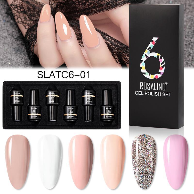 Nail Polish ROSALIND 7ml Soak Off Gel Bright For Art Design LED/UV Lamp 6PCS/KIT SLATC6-01