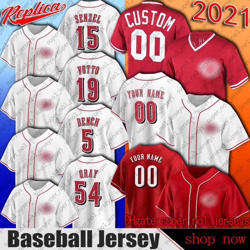 Cincinnati 5 Johnny Bench Jersey Beisebol Barry Larkin Pete Rose Jerseys Eugenio Suarez Joey Votto Luis Castillo Jersey Shogo Akiyama Senzel