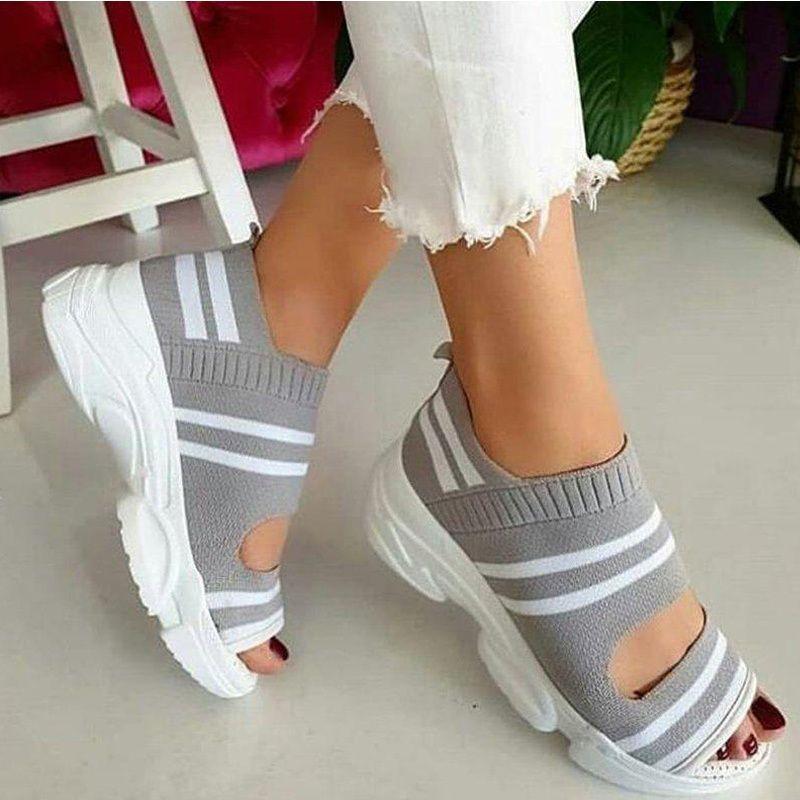 Sapatos casuais para mulheres sneakers de verão deslizamento em sandálias femininas trecho tecido sapato feminino peep toe plataforma senhoras calçados 210301