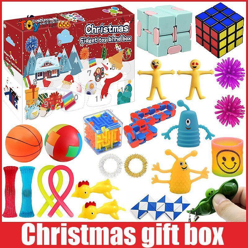 Yeni! Fidget Oyuncaklar Noel Kör Kutusu 24 Gün Advent Takvim Noel Yoğurma Müzik Hediye Kutusu Noel Geri Sayım 2021 çocuk Hediyeler