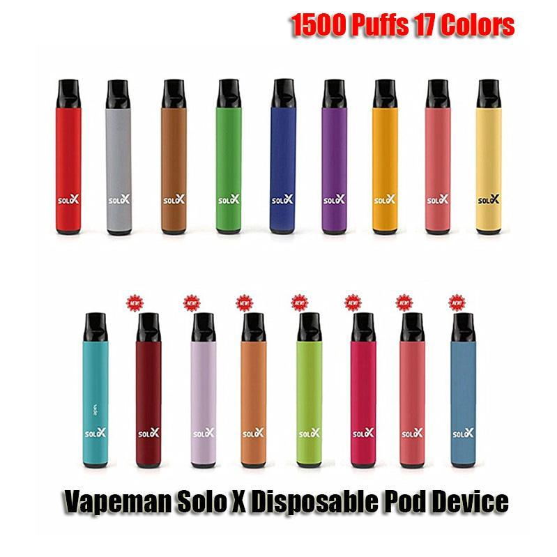 Original Vapeman Solo x Einweggerät Kit 1500 Puffs 850mAh Batterie Vorgefestigt 4.2ml Pod Vape Pen Original vs bar plus