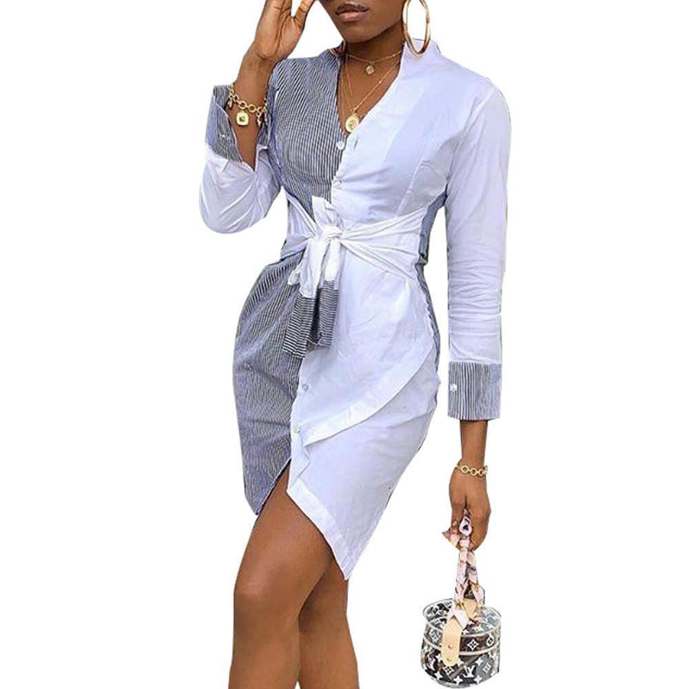 Женщины полосой рубашки платья вечерняя вечеринка мини-платья с длинным рукавом платья повседневные платья для моды