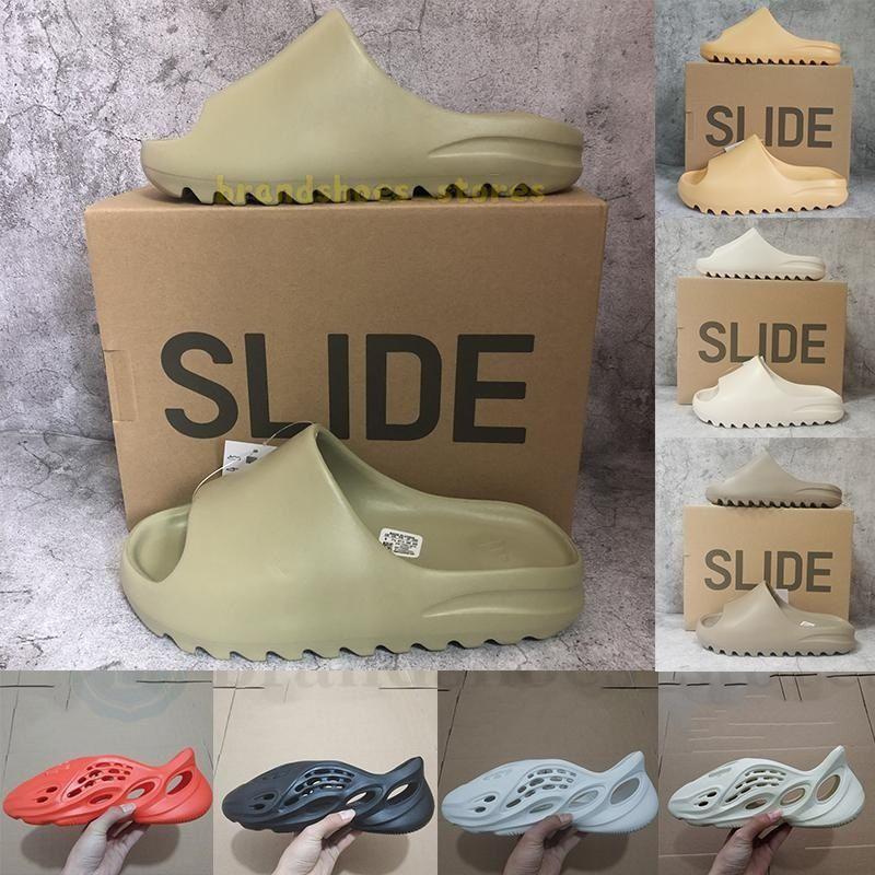 Avec Box Designers Slides Tongs Pantoufles Mousse Runner Sand Triple Black Bone White Resin Slide Sandal Mens Slipper Man Womens pantoufle