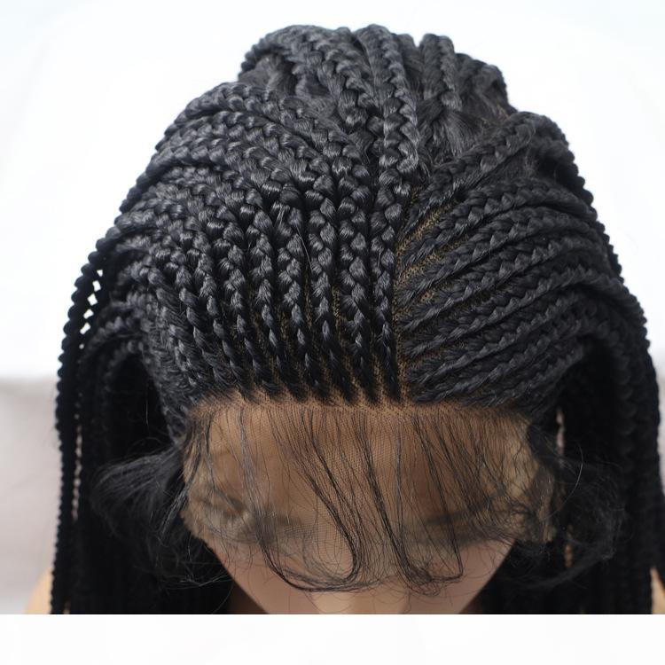 Sylvia Noir Synthetic Dentelle Dentelle Front Perruque Boîte longue Boîtes Perruque avec chaleur bébé RESISTASNT Coiffure African Braid Coiffe Cosplay